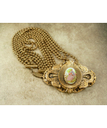 Antique heavy Brass PORTRAIT Necklace 4 strand painted cameo choker vict... - $325.00