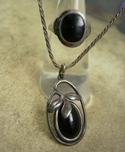 Vintage ART Nouveau Ring Necklace fancy sterling silver pendant Black onyx  - $225.00