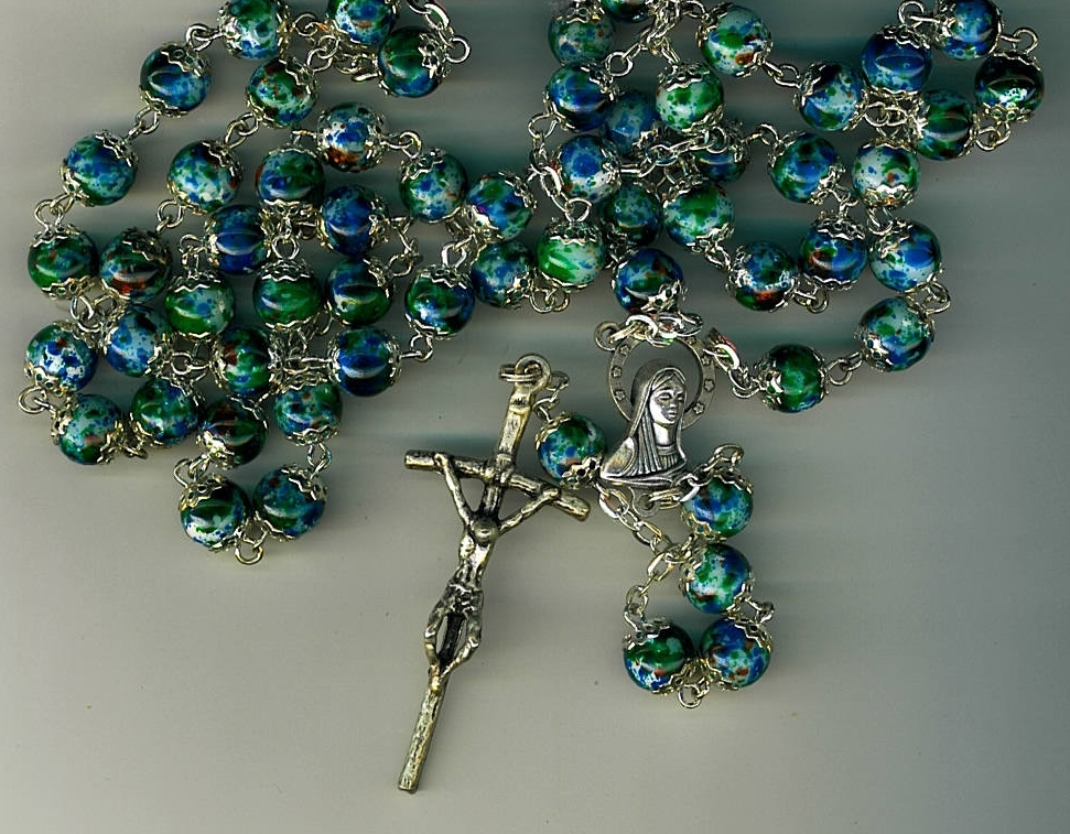 Rosary   blue cloisonne round beads 258 blue 001