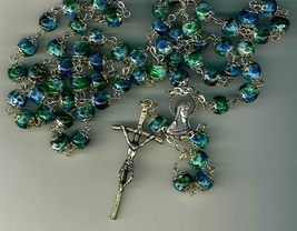 Rosary - Blue Cloisonne Round Bead - L258/BLUE