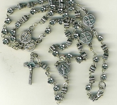 Rosary - Silver Flower Beads - St. Benedict - L160.0755