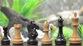 "Staunton Series Triple Weighted Chess Pieces in Ebony & Box wood-4.0"" King D0136 - $247.99"