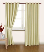 CREAM FAUX SILK 66X54 THERMAL LINED BLACKOUT HEAVYWEIGHT RING TOP CURTAINS - $53.89
