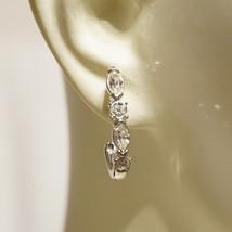 Vintage Trifari Rhinestone Bridal Semi Hoop Pierced Earrings Rhinestone Wedding  - $30.00