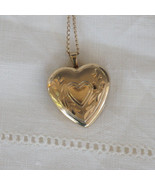 Antique Gold Filled Engraved Heart Locket Necklace Sweetheart Mother's Day - $85.00
