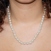 Vintage Ivory Glass Pearl Bridal Necklace Pearl Strand Wedding Necklace - $25.00