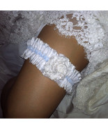 Something Blue Wedding Garter Vintage Lace Shabby Chic Handmade Flower B... - $29.95