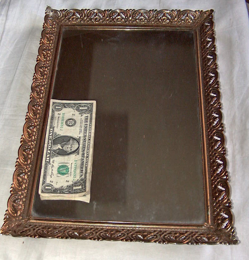 "Primary image for Vintage 16"" x 10.5"" Gold-Toned Metal Filigree Footed Vanity Mirror Makeup Tray"