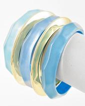 Gold Tone Faceted Turquoise & Aqua Acrylic 5 Piece Bangle Bracelet Set - $19.79