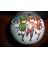 "Hallmark Christmas Ball Joan Walsh Anglund Satin Ball Ornament 1980"" Vin... - $9.75"