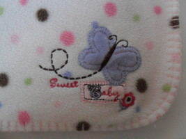 """Just Born Butterfly Polka Dot Baby Blanket Pink Brown White Plush 30 x 40"""" - $19.55"""
