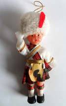 "Scottish Soldier Doll Plastic Ornament 4 ""Jointed Arms Vintage Scottland - $12.69"