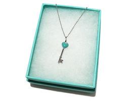 Tiffany & Co Sterling Silver Blue Enamel Heart Key Charm Pendant 16 in N... - $174.95