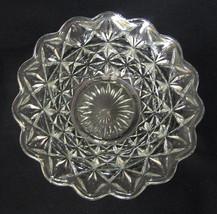 Prescut Clear Glass Bowl Scalloped Rim Geometric Design - $40.09