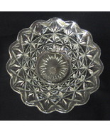 Prescut Clear Glass Bowl Scalloped Rim Geometric Design - $40.09