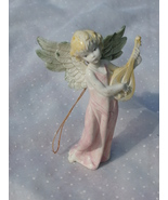 Small Hard Plastic Angel Ornament, Angel Playin... - $2.49