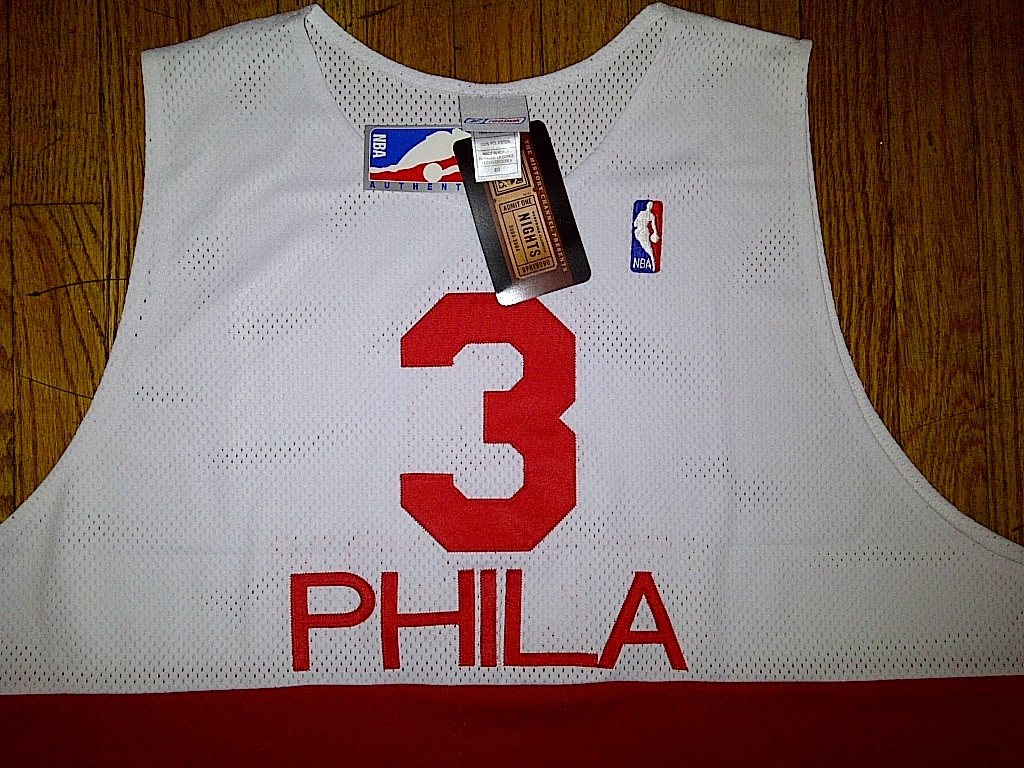 Authentic Reebok Philadelphia Sixers 76ers Allen Iverson - White/Red Jersey 60