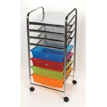 "STORAGE SCRAPBOOK 4 SHELF CART 4 DRAWERS WHEELS 14"" SQUARE PAPER CRAFTING - $95.93"