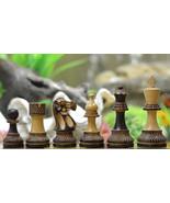Staunton Chess Set Burnt Wood  Handcarved Knight 4 Queens M0039 - $115.99