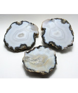 3 Piece Split Agate Geode with Crystal Inclusion Lapidary Craft Display Specimen - $8.49