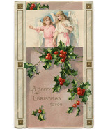 Antique 1909 Embossed Gilded Christmas Angels and Holly Vintage Postcard - $1.95