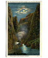 Colorado Royal Gorge by Moonlight with Train - 1939 Vintage Postcard - $4.95