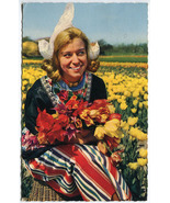 Holland In Bloom - Dutch Girl with Tulips Vintage Postcard with Nederland Stamp - £1.94 GBP