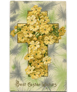 Vintage 1912 Embossed Yellow Flower Cross Antiq... - $4.95