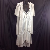 White Peignoir Set Lingerie High Low Short Nightgown Sheer Robe Lace Sat... - $58.41