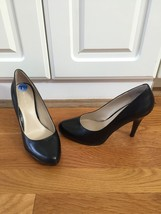 "NINE WEST Black Leather 4"" High Heel Pumps 7.5 Rounded Pointy Toe NWT - $37.39"