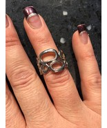 LIA SOPHIA STRUCTURE Silver Tone Ring Geometric Ovals Circles Sz 6 - $9.49