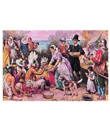 JLG Ferris Painting First Thanksgiving Miles Standish Early America Post... - $5.49