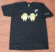 Google Gay Pride Rainbow Flag 2 Androids T Shirt XL American Apparel Black - $15.83
