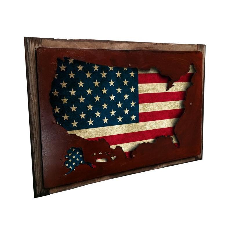 3D USA Flag Map Framed 24\