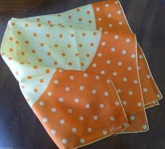 "VTG Vera Neumann Scarf 1970s  22"" x 22"" orange yellow polka dot - $29.70"