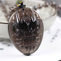 natural ice Obsidian stone Hand carved  dragon head good luck charm pendant - $49.49