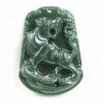 Hand carved natural green jade stone tiger jade gift charm handmad pendant  - $14.84