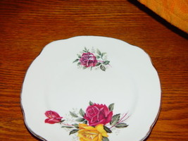 "Duchess Bone China Small Plate Red And Yellow Rose 6"" - $9.50"