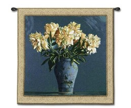53x53 CHINA BLUE Floral Flower Tapestry Wall Hanging - $179.95