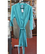 CS Women 3/4 Sleeve Terry Robe Size Small Color Teal splash  - $9.95