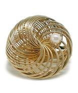 Vintage Filigree & Faux Pearl Goldtone Spring Back Scarf Holder - ₹556.06 INR