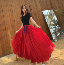 Women High Waist Floor Length Chiffon Skirt Purple Red Chiffon Bridesmaid Skirt  image 2