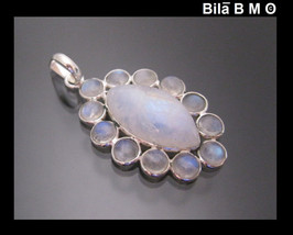 RAINBOW MOONSTONE Vintage Pendant in Sterling Silver - 1 5/8 inches long - $90.00