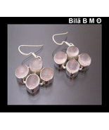 ROSE QUARTZ Vintage Dangling Earrings set in Sterling Silver - 1 1/2 inc... - $75.00
