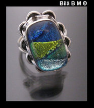 BLUE and GREEN Dichroic Glass Vintage Ring set in Sterling Silver - Size... - $65.00