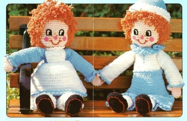 Primary image for Y396 Crochet PATTERN ONLY Rag Doll Muffin Twins Boy & Girl Patterns