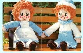 Y396 Crochet PATTERN ONLY Rag Doll Muffin Twins Boy & Girl Patterns - $10.50