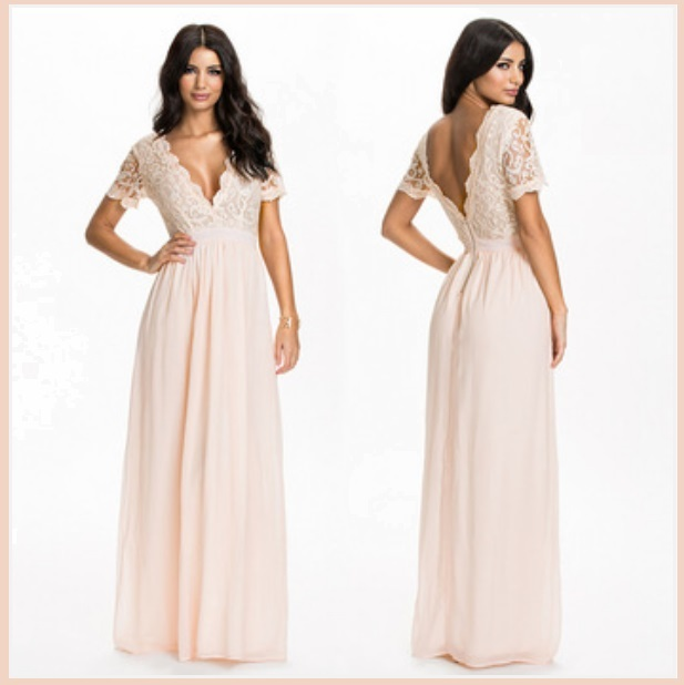 Elegant Full Length Pink Chiffon Lace Bodice V Neck Backless Evening Gown