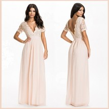 Elegant Full Length Pink Chiffon Lace Bodice V Neck Backless Evening Gown - $63.95