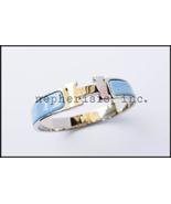 AUTH BNIB Hermes CLIC CLAC H Enamel Narrow Bangle or Bracelet BLUE JEAN ... - $875.00